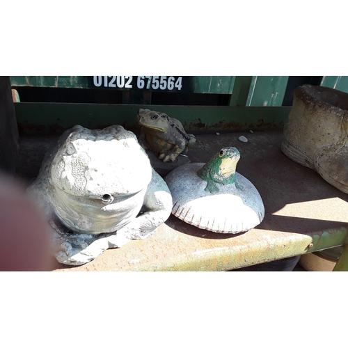 1029 - Three concrete frog garden statues....