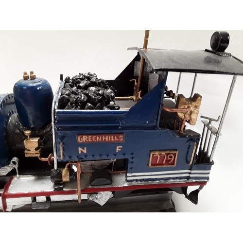 18 - Handbuilt model of a steam locomotive with battery operated light....