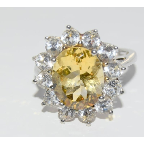 437 - A large Citrine Topaz 925 silver ring. Size O 1/2....