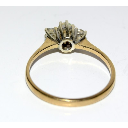 457 - 9ct gold opal and diamond ring. Size M....