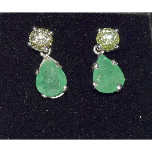 363 - A pair of emerald and diamond drop earrings of 2.5ct Approx....