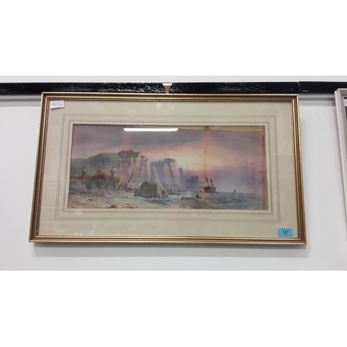 127 - A framed and glazed watercolour of a ship coming into land....