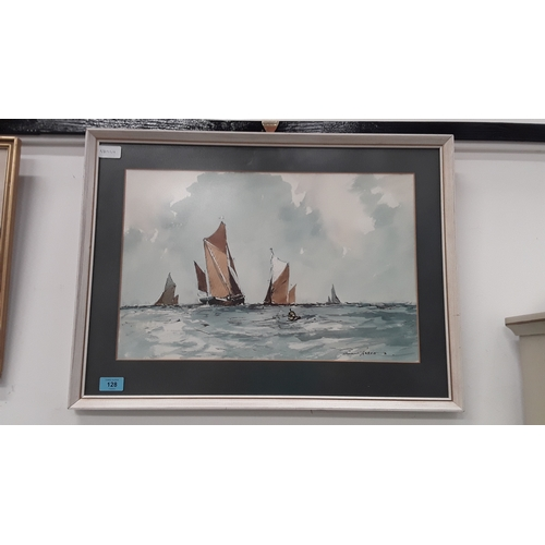 128 - A framed and glazed watercolour of ships on rough seas. Signed....