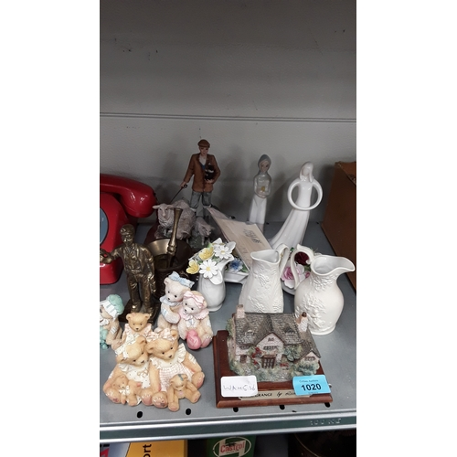 1020 - A collection of Cherished Teddies together with Portmeirion pottery, china and brass items....