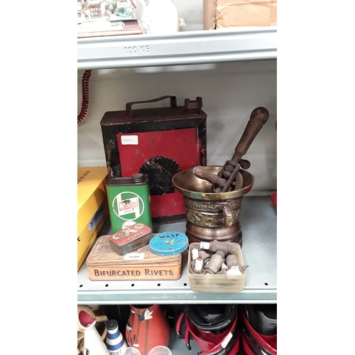 1040 - A vintage Shell fuel can together with a brass pot and other vintage car tins and collectables....