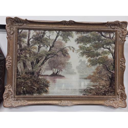 1062 - Gilt framed oil on canvas, river scene by local Wimborne artist Chaffey (approx 90x64cm)....
