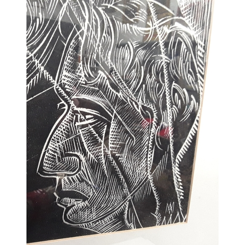 1070 - Large framed and glazed black and white picture study of heads - 73x103cm....