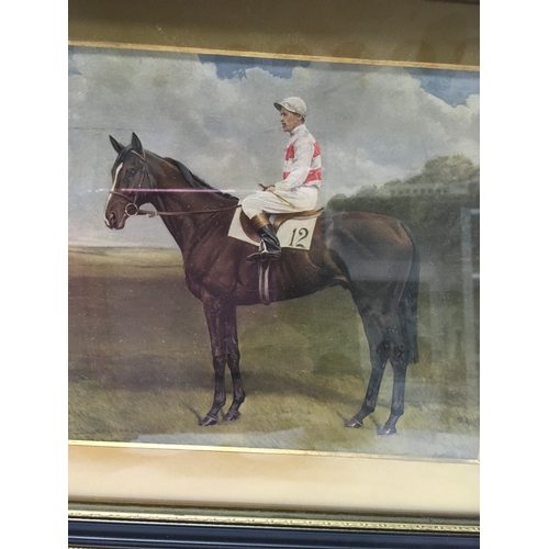 1089 - A pair of over painted oils: Winner of Derby 1955 and Winner of Derby 1956, signed E Minton King....
