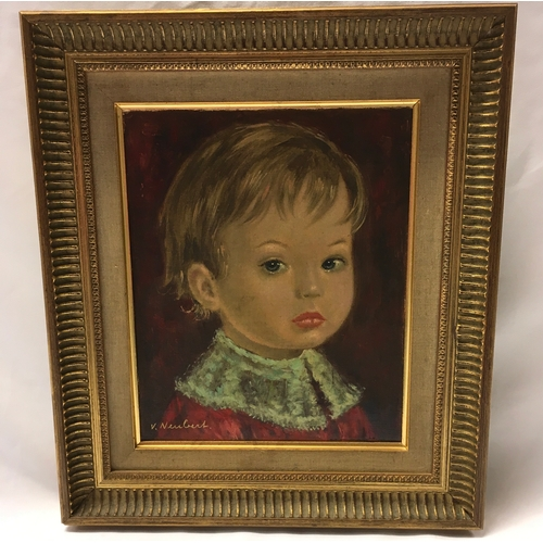 1094 - A gilt framed oil on canvas portrait of a child, signed V Newblet 40 x 35cm....