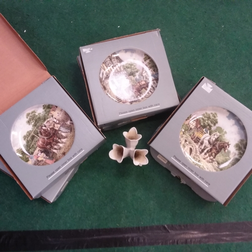 1177 - Six Wedgwood collectors plates together with three packets of Christmas cards and a ceramic spill va...