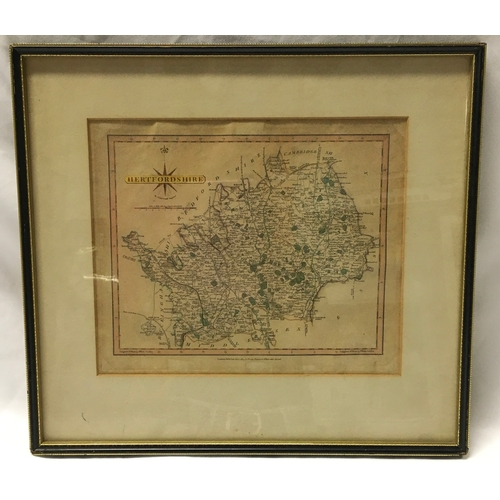 1190 - A framed and glazed map of Hertfordshire, published July 1809 by John Cary, Engraver and Map Seller ...