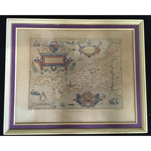 1206 - A framed and glazed Saxton's Map of Cornwall, 1576. Printed by Taylor Limited 1970....