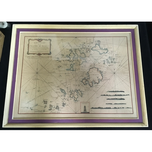 1208 - A framed and glazed New Chart of the Islands of Scilly with their surroundings Channels and Sailing ...