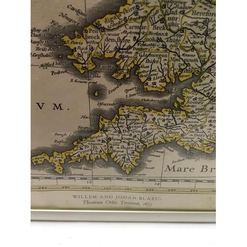 1214 - A framed and glazed Map, printed by John Bartholomew & Sons Ltd, Edinburgh, Scotland. 52 x 42cms....