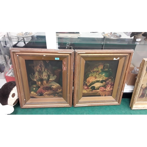 1186 - A pair of framed oils on canvas of dead birds and fruit. Signed T. Bale....
