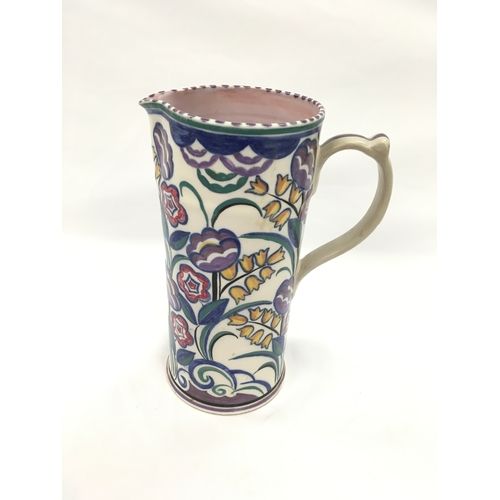 6 - Poole Pottery shape 120 tall BM pattern water jug by Gwen Dry....