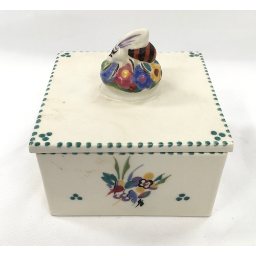 39 - Poole Pottery shape 941 honey box with bee finial on lid....