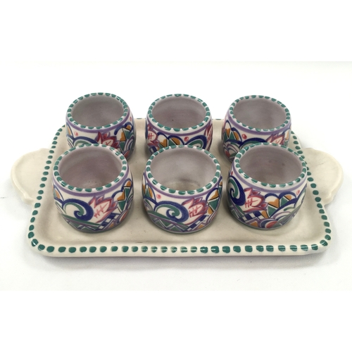 127 - Poole Pottery Carter Stabler Adams HW pattern Art Deco egg cup set by Eileen Prangnell to include re...