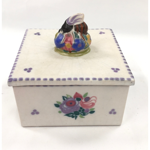 126 - Poole Pottery Carter Stabler Adams shape 941 WW pattern honey box with bee finial on lid....