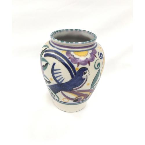 40 - Poole Pottery Carter Stabler Adams shape 198 QB pattern (comical bird) vase....