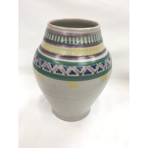 15 - Poole Pottery Carter Stabler Adams shape 216 ME pattern Art Deco geometric vase by Anne Hatchard....