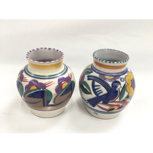 36 - Poole Pottery shape 988 QB pattern (Comical Bird) vase by Nellie Bishton together with a similar sha...