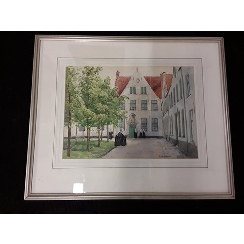 1300A - Original watercolour of a convent courtyard scene by E.C. Pascoe Holman.  Framed & glazed 56x47cm....