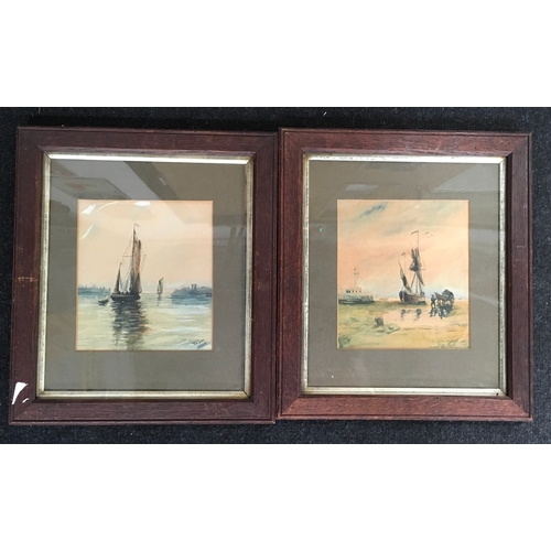 1308A - A pair of watercolours depicting water barges, signed W.Day....
