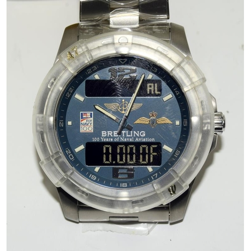 "2285 - Breitling Gents ""Unworn"" wristwatch Aerospace Fly Navy 100 years Naval Aviation. No: 42/50 Limited E..."