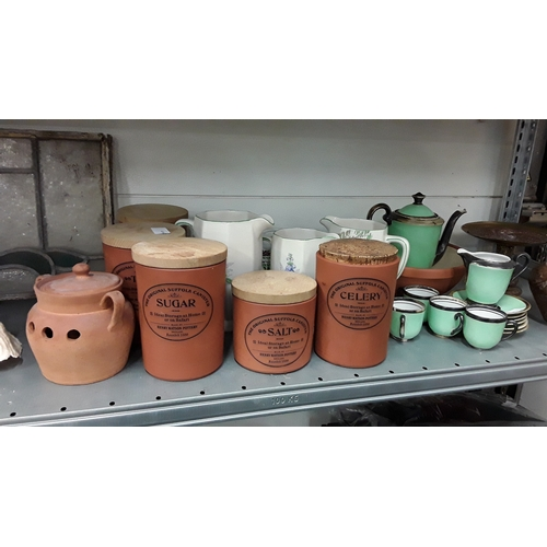 1031 - An Art Deck part teaset together with other China and pottery kitchen storage jars etc....