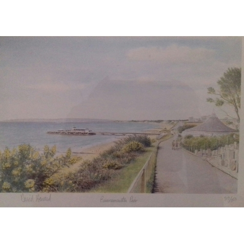 550 - A pair of Limited Edition prints: Mudeford / Bournemouth Pier, signed David Howard.  Framed and glaz...