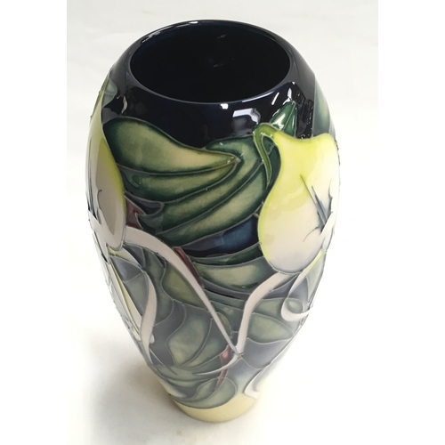 25 - Moorcroft Limited Edition Allegria Orchid vase. Signed by artist. 104/200. Boxed, 2001....