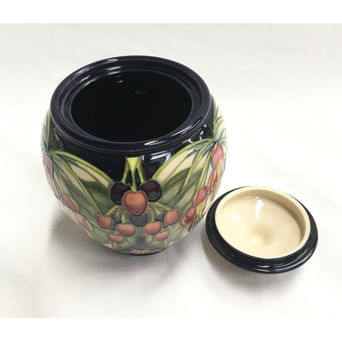 33 - Moorcroft NZ Purri Tree lidded Jar and cover. 2004, boxed....