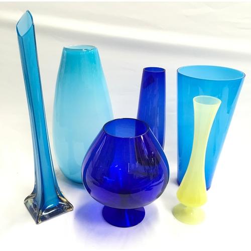 48 - Six coloured glass vases....