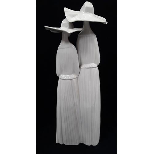 44 - Lladro Two Nuns figurine 4611 glossy....