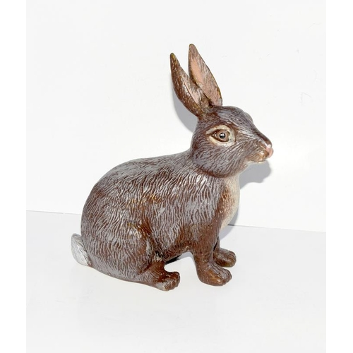 34 - A cold painted bronze of a rabbit....