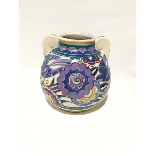 144 - Poole Pottery shape 768 HE pattern twin handled vase by Myrtle Bond....