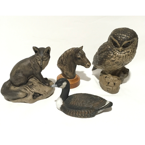 106 - Poole Pottery Barbara Linley Adams stoneware owl, together with a Exmoor pony head, painted  decoy d...
