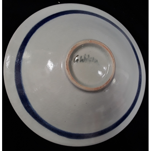 28 - Two studio pottery dishes, signed G Wilson (30cm & 22cm diameters)....