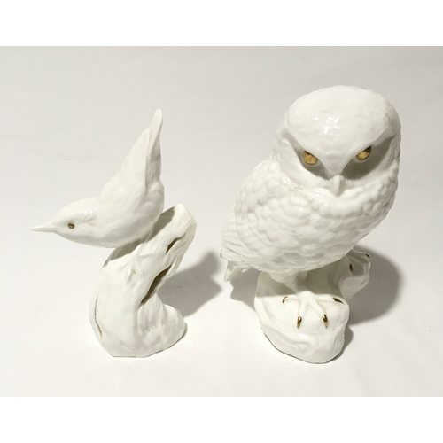 107 - Poole Pottery Barbara Linley Adams golden eye bone china owl together with a nuthatch....