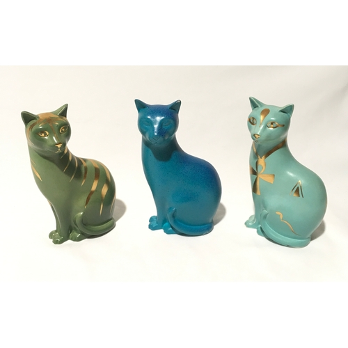 108 - Poole Pottery trial glaze cat, together with 2 similar (one a/f)....