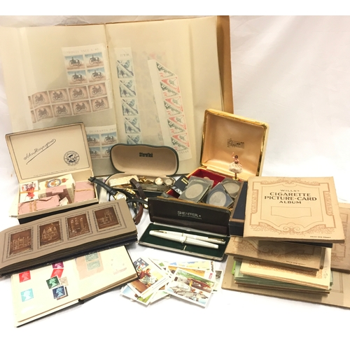 257 - Mixed collection of stamps, jewellery and cigarette cards and coins and other items....