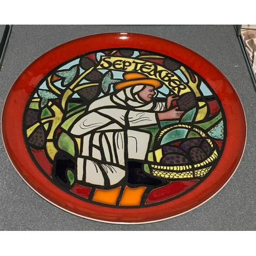 3 - Poole Pottery limited edition Calendar plates designed by Tony Morris, July, August & September boxe...