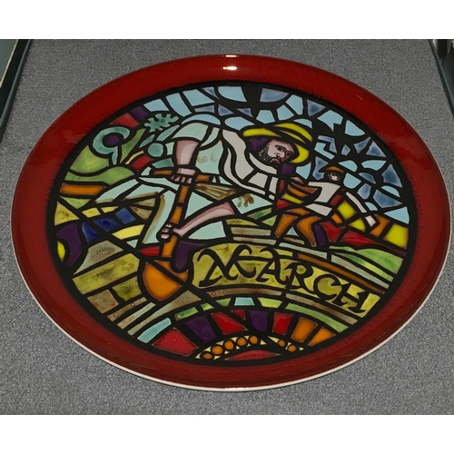1 - Poole Pottery limited edition Calendar plates designed by Tony Morris, January, February & March, bo...