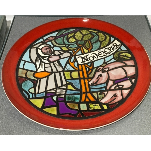 2 - Poole Pottery limited edition Calendar plates designed by Tony Morris, April, May & November boxed w...