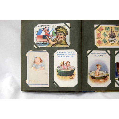 251 - Postcard album of over 200 cards with military interest. Late Victorian to 1940's including many Don...