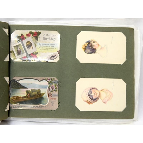 """255 - Postcard album of over 200 cards Victorian to Art Deco rare cards to include one of """"Zeppelin""""...."""