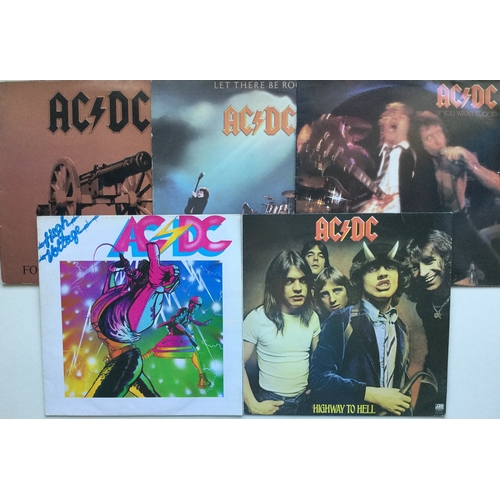 7 - AC/DC VINYL ALBUMS X 5. Some rock LP's here with titles - High Voltage - Highway To Hell - If You Wa...
