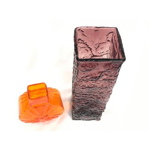 4 - Whitefriars orange sunburst vase together with a purple oblong bark vase....