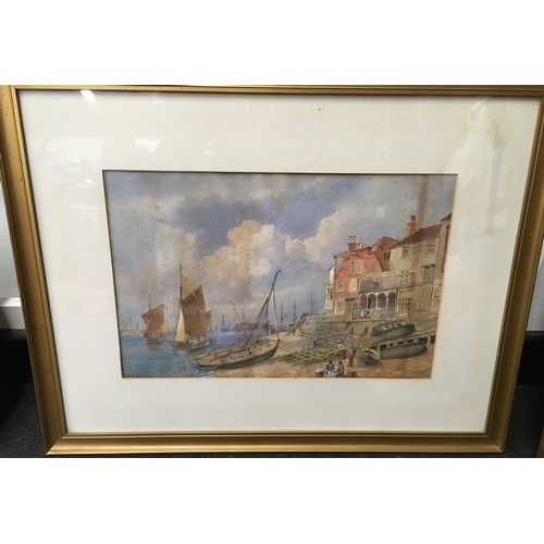 532 - 19th century framed and glazed marine watercolour: Barges, beach and tavern scene, poss IOW, William...